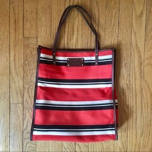 Kate Spade Striped Canvas Tote-Orange/Black/White